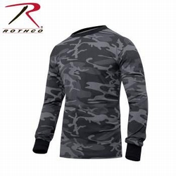 Long Sleeve Tee: Black Camo