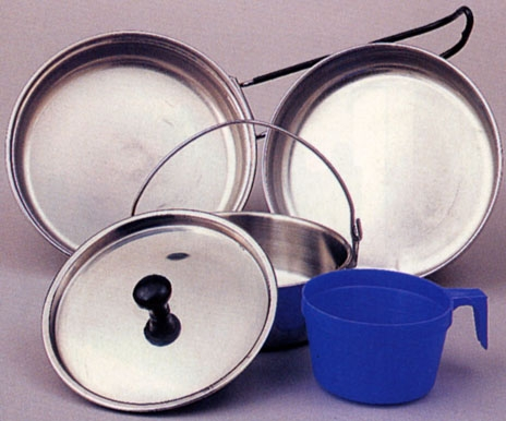 Camping: Stainless Steel 5-Piece Mess Kit