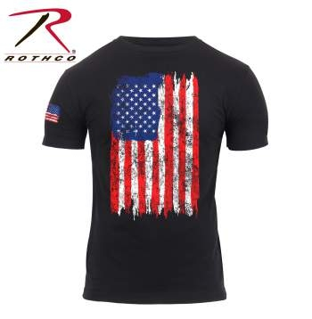 Distressed US Flag T-Shirt: Red,White & Blue