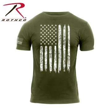 Distressed US Flag T-Shirt: Olive Drab