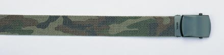 Military Web Belts: Olive Drab/Woodland Camo Reversible