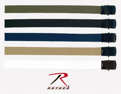 Military Web Belts: Cotton Belts with Black Buckles