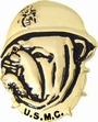 Military Pin: USMC Bulldog Gold Helmet