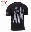 Distressed US Flag T-Shirt: Black/White